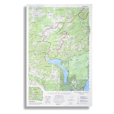 Topographic trail map of Mount Skokomish Wilderness, North and South Skokomish River trails, and the Lake Cushman Area - $5.58