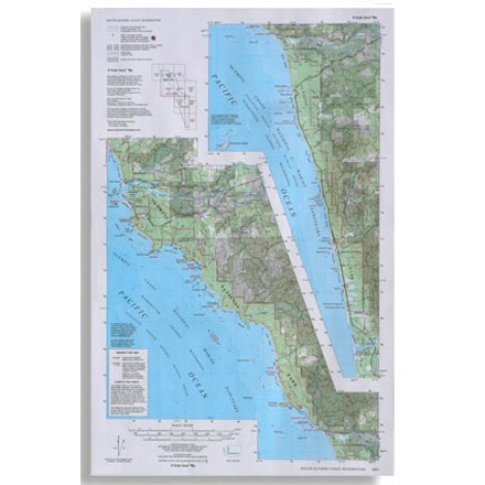 Compiled and rescribed from USGS base maps, this map shows trails along the south Olympic coast of Washington - $5.58