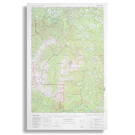 Topographic trail map of the Buckhorn Wilderness as well as connecting trails in the adjacent part of Olympic National Park - $5.58