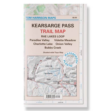 Camp and Hike This waterproof and tear-resistant folded map of the Kearsarge Pass area provides detailed and accurate trail information. Map features color-coded symbols and trails, mileages between trail junctions, contour lines, vegetation and elevations at trail junctions. Also features latitude/longitude and UTM grids, making map compatible with GPS users. Covers Rae Lakes Loop, Paradise Valley, Vidette Meadow, Charlotte Lake, Onion Valley and Bubbs Creek. Printed on waterproof, tear-resistant plastic for long-lasting use. Measures 7.5 x 4.5 inches folded; folds out to 22.5 x 17.5 inches; scale of 1:42,240. Provides key contact information and websites. Tom Harrison Maps; copyright 2004. - $9.95