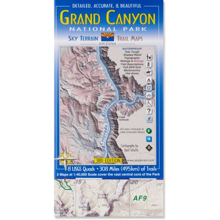 Camp and Hike The Sky Terrain Grand Canyon National Park Trail Map - 4th Edition delivers accurate, detailed and beautifully rendered trail information in this pocket size map. - $11.95
