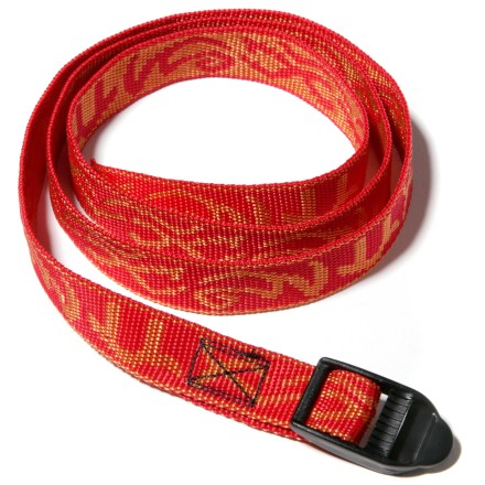 Camp and Hike This 24 in. long patterned webbing strap with buckle is ideal for lashing gear to your backpack. Ladder-loc buckle allows you to tighten strap with one hand. - $1.43
