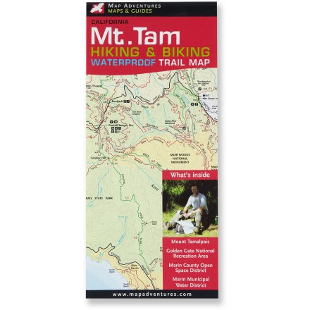 Camp and Hike Confidently navigate the summits, ocean views, sandy beaches, nature preserves, lakes and ponds of the Mount Tamalpais area with the detailed, colorful Mt. Tam Hiking and Biking waterproof trail map. - $8.95