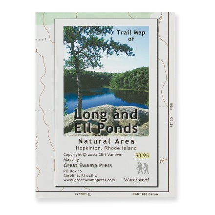 Camp and Hike Slip this handy map in your pocket for biking adventures in Rhode Island's Long and Ell Ponds Natural Area. - $1.93