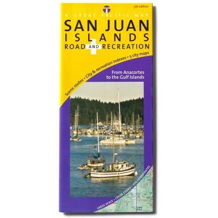 Golf The San Juan Islands Road and Recreation map offers comprehensive coverage of Washington state's beautiful archipelago-from Lime Kiln to Mt. Constitution! Up-to-date, highly legible maps provide you with excellent detail. Detailed insets include Lopez Village, Friday Harbor, Eastsound, Skyline and Anacortes. Each map is cross-referenced to comprehensive, easy-to-read text. Offers a full range of destinations: beaches, parks, campgrounds, marinas, ferry routes, galleries, lighthouses, golf courses, museums and much more. Laminated, waterproof map measures 10.5 x 4.5 in. when folded; unfolds to 36 x 24 in. Great Pacific Maps; copyright 2009. - $6.95