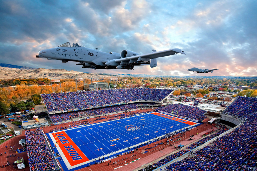 Guns and Military A-10 Thunderbolts over Bronco Stadium