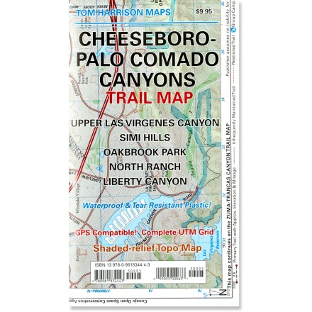Camp and Hike The Cheeseboro - Palo Comado Canyons trail map offers a full-color, topographic guide with shaded relief for hiking, backpacking, and mountain biking around this Ventura County open space. - $9.95