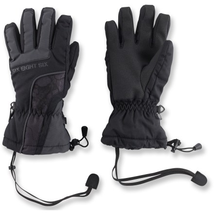 Entertainment The waterproof and breathable 686 Cracked insulated gloves for boys offer warm comfort and rugged style for long days on the slopes. Tough nylon shells feature INFIDRY-5(TM) waterproof and breathable coating. Polyester insulation adds warmth without a lot of bulkiness; brushed tricot lining wicks moisture and feels great against the skin. Precurved construction minimizes stress on seams and reduces compression of insulation, maximizing warmth; palm reinforcements offer soft grip. The 686 Cracked insulated gloves feature short gauntlet cuffs with elasticized wrists, single-pull adjustment cords and glove leashes. - $24.93
