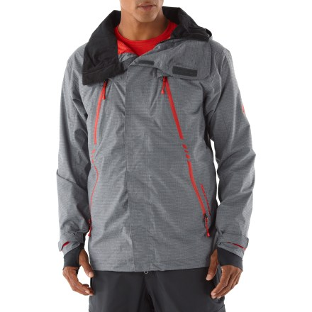 Ski The 686 Plexus Storm Thermagraph(TM) insulated jacket is ready for the harshest mountaintop conditions. The most robust waterproof and breathable coating by 686, INFIDRY-20(TM) delivers top-of-the-line weather protection in all conditions. Polyester shell features fully taped seams for the ultimate seal against snow and water. Infi-loft(TM) synthetic insulation is mapped to the body for exceptional warmth. Zip-off hood features a storm guard laminated brim to aid visibility in poor conditions; hood stretch panels and a single-pull drawcord offer easy on/off and adjustability. Underarm vents with mesh gussets and zippered chest vent allow on-the-fly temperature regulation. Adjustable powder skirt keeps out the spindrift and cold air; includes lift ticket grommet and snap tabs that connect to compatible pants. Embedded RECCO(R) reflector enhances radio signals from search-and-rescue RECCO detectors for quicker acquisition of position in an avalanche. Dual zippered chest vents for exceptional ventilation. Storage includes internal see-through media pocket, mesh stash, zippered chest pocket, credit card/ID stash and front hip pockets with key clip and glove loop attachments. The 686 Plexus Storm Thermagraph insulated jacket features a stormflap and hidden drawcord hem to keep the cold out. - $280.00
