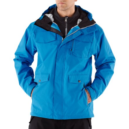 Snowboard The tricked-out 686 Smarty Command 3-in-1 insulated jacket touts smart features and weatherproof protection for the street or the mountain. Liner jacket features 250g fleece insulation; wear the shell and liner jacket together for the most warmth and protection or wear either piece solo in appropriate weather. Durable nylon shell jacket features INFIDRY-10(TM) waterproof, breathable coating, supplying weather protection and ample breathability. Critical seams are taped for added weather protection. Single-pull hood adjustment with laminated brim offers on-demand protection from inclement weather, and stretch panels ease pull-on over head. Pit-zip vents regulate core temperature and feature mesh gussets to keep snow out. Articulated sleeves are designed to move with the body, increasing comfort and range of motion. Partially elasticized rip-and-stick wrist cuffs seal out cold and snow while trapping warmth in. Adjustable powder skirt includes lift ticket grommet and snap tabs to connect to compatible pants. 2-way front zipper offers inner draft flap protection from cold wind. Goggles chamois cloth included. Storage galore: internal miscellany pocket, stash pass chest pocket and a hidden credit card/cash pocket. Zip handwarmer pockets warm up chilly fingers; multiple front cargo pockets with flaps offer additional storage in the 686 Smarty Command 3-in-1 jacket. - $120.83