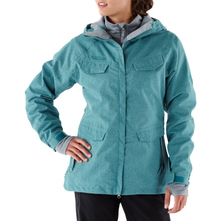 Snowboard The women's 686 Smarty Command 3-in-1 insulated jacket touts smart features and weatherproof protection for the street or the mountain. Liner jacket features 250g fleece insulation; wear the shell and liner jacket together for the most warmth and protection or wear either piece solo in appropriate weather. Durable nylon shell jacket features INFIDRY-10(TM) waterproof, breathable coating, supplying weather protection and ample breathability. Critical seams are taped for added weather protection. Hood features side stretch panels for easy on and off, and a laminated hood to keep the snow out of your eyes; hood features a single pull for easy adjustments. Adjustable powder skirt helps seal out cold air and wet snow while retaining valuable warmth; pant-to-jacket connection tabs work with compatible 686 pants. Underarm zip vents regulate core temperature and feature mesh gussets to keep snow out. Articulated sleeves are designed to move with the body, increasing comfort and range of motion. Partially elasticized rip-and-stick wrist cuffs seal out cold and snow while trapping warmth in. 2-way front zipper offers inner draft flap protection from cold wind. Storage galore: internal miscellany pocket, stash pass chest pocket and a hidden credit card/cash pocket. Zip handwarmer pockets warm up chilly fingers; multiple front cargo pockets with flaps offer additional storage in the 686 Smarty Command 3-in-1 jacket. - $199.93