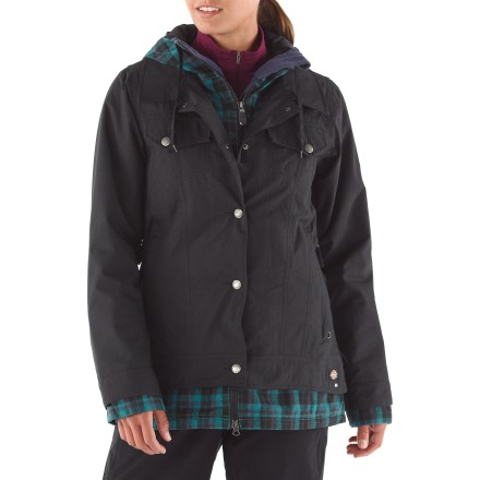 Snowboard 686 and Dickies join forces to bring you this urban-wear inspired 686 Times Dickies Rancher Insulated jacket. Featuring cotton plaid panels at the hood, cuffs and hem, and a jean-jacket inspired look, this jacket is sure to please the most style-conscious riders. Durable polyester fabric features INFIDRY-15(TM) waterproof breathable coating for superior wind and water protection; fully taped seams. Light insulation in the body, sleeves and hood keeps you warm without bulk, and continues to insulate when wet. Smooth lining slides easily over base layers. Full-length, 2-way front zipper is partially covered with stormflap; snap closures secure the stormflap to keep the wind at bay. Hood features drawstring ties for a secure fit. Zippered underarm vents features mesh gussets for quick ventilation. Adjustable powder skirt helps seal out cold air and wet snow while retaining valuable warmth; pant-to-jacket connection tabs work with compatible 686 pants. Powder skirt features a grommet for attaching lift ticket. 686 Times Dickies Rancher Insulated jacket features an internal audio pocket, internal mesh pocket, hidden ID stash pocket and zippered handwarmer pockets at hips. - $120.83