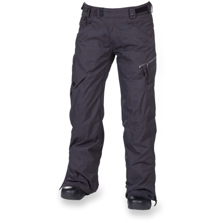 Snowboard For the mountain fashionista, these 686 Smarty Lowrise 3-in-1 insulated pants sit low on your hips and have all the protection, warmth and features you need for a day on snow. Nylon shell features INFIDRY-15(TM) waterproof, breathable coating and fully taped seams for a robust waterproof construction. Zip-out 250g fleece liner pants can be paired with the shell pants for the ultimate in warmth and weather protection, or either layer can be worn solo in appropriate weather. Ventilate on the fly with leg vents; mesh gussets prevent snow from sneaking in when vents are open. Articulated knees improve comfort and range of motion; waistband tabs customize fit. Lower leg openings expand in a snap for easy on and off. Integrated leg gaiters keep snow from sneaking into your boots; compatible with Boa(R) Lacing System boots. Includes pant-to-jacket powder skirt connection points to hook up to compatible jackets (sold separately). Goggles chamois cloth included. Keep small essentials close at hand with thigh cargo pockets, zippered thigh pocket, small waist stash, dual back pockets and lower leg stash. The Smarty Lowrise 3-in-1 Insulated Pants from 686 feature key clip and glove loop attachments. - $191.93