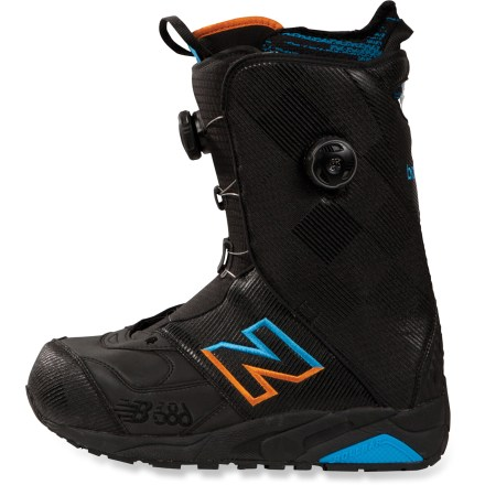 Snowboard The 686 Times NB Boa Focus snowboard boots are based on the original MT580 trail running sneakers from New Balance. Their design has been simplified and includes new lightweight, durable textiles. This year's 686 Times NB boots offer an improved fit, increased stability with a superior flex, a lower profile and lighter weight overall than previous seasons. Boa(R) Focus lacing features 2 fit zones that tighten independently; it concentrates closure on the instep and holds the heel securely no matter how the upper is cranked. Boa lacing offers on-the-fly micro adjustments and never comes untied; you get quick on and off, and consistent closure without pressure points. Pure EVA outsoles are constructed to optimize cushioning while providing the most direct connection to the board as possible; aggressive tread provides easy trekking on snow. Lightweight, heel-stabilizing Rollbars(R) transfer any motion directly to the board and provide exceptional rear-foot support. With the added stability from the Rollbars, 686 can use exceptionally soft, shock-absorbing EVA padding to ensure superior comfort and impact protection. Lightweight thermoplastic urethane reinforcements add durable structure to the boots and relieve binding pressure. Embedded RECCO(R) reflector enhances radio signals from search-and-rescue RECCO detectors to speed location acquisition in an avalanche. DynaLite(TM) liners have a tailored fit that allows a compact footprint and provides exceptional board feel without sacrificing stability. Engineered open-cell polyurethane (PU) foam cuffs reduce pressure around calves; rip-and-stick locks keep tongues in position. PU foam C-pads adjust themselves to the shape of your ankles to provide optimal heel fit and shield ankle bones from unwanted pressure. ABZORB(R) cushioned footbeds provide a superior blend of cushioning, compression and arch support; high-friction surface prevents slippage. - $239.93