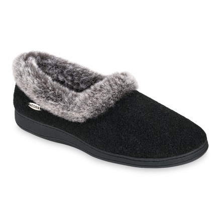 Entertainment Acorn Chinchilla slippers keep your feet warm and happy all winter long with their soft faux fur collars and linings and plush memory foam insoles. Flexible and plush polyester uppers offer outstanding warmth and comfort. Rich polyester faux fur collars and linings manage moisture while providing regulated warmth. Lofty memory foam midsoles layered over featherweight EVA foam creates custom cushioning, warmth and support. Raised heels and arches add support underfoot for enhanced stability and comfort. Weatherproof thermoplastic rubber outsoles deliver non-slip traction indoors and out. - $21.93