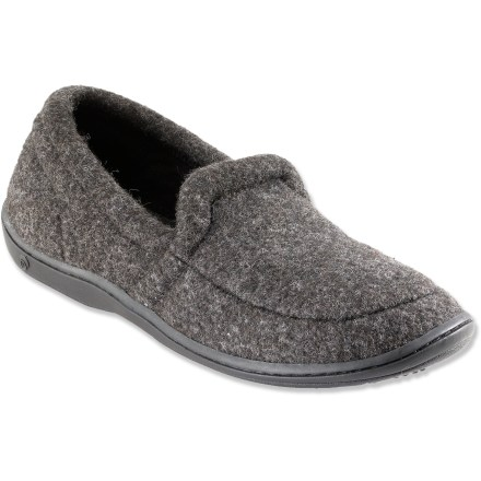 Entertainment The Acorn TLC Moc Slippers feature richly textured Berber fleece uppers for warmth and comfort. Textured acrylic/polyester/cotton blended Berber fleece supplies softness and warmth to keep you cozy. Polyester microfleece linings manage moisture and regulate warmth so feet don't overheat. Feet are pampered by the lofty high-density memory foam insoles; EVA midsoles supply cushioning, warmth and support. Raised heels add support underfoot for enhanced stability and comfort. Thermoplastic rubber outsoles deliver non-slip traction indoors and out. Closeout. - $13.73