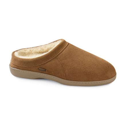 Entertainment The men's Acorn Bates Mule slippers pamper your feet at home or at the office. Bates Mule slippers feature luxurious sheepskin suede uppers. Plush shearling fleece linings wick moisture away. Polyurethane foam insoles offer comfortable padding underfoot. Non-slip, thermoplastic rubber outsoles offer indoor and outdoor traction. Closeout. - $38.73