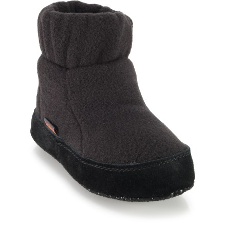 Entertainment These Acorn Cozy slippers provide plenty of plush comfort to keep your kids' feet pampered. Polyester fleece uppers feature suede leather sidewalls to enhance durability; cozy polyester fleece linings warm feet and wick moisture. High-density foam insoles and EVA midsoles offer soft cushioning and support underfoot. Cotton canvas outsoles feature polyester gripping dots for traction. Closeout. - $6.73