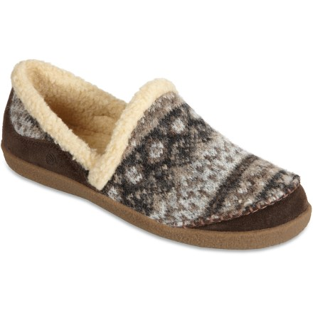 Entertainment The Acorn Crosslander Moc women's slippers boast wool blend uppers and warmth-enhancing synthetic down insulation for comfort through the winter. Cozy uppers feature a blend of polyester and Italian wool; suede leather accents help protect uppers to enhance durability. Synthetic down insulation ups the warmth factor to keep feet toasty. Soft synthetic fleece linings offer great comfort and wick moisture away from feet. Contoured footbeds enhance support underfoot and provide lightweight cushioning. Nonslip rubber outsoles on the Acorn Crosslander Moc slippers deliver traction indoors and out. - $55.93