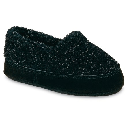 Entertainment Classic and cozy, these Acorn Textured Moc fleece slippers supply cold-weather comfort for little feet padding around the house. Textured fleece construction supplies softness and warmth; suede leather sidewalls enhance durability and scuff resistance. Warm polyester fleece linings wick moisture away from feet to enhance comfort. Feet are pampered and cushioned by midsoles constructed out of lofty memory foam over a layer of featherweight EVA. Nonslip rubber outsoles on the Acorn Textured Moc fleece slippers have a versatile tread for sure footing on quick trips outside. - $18.93