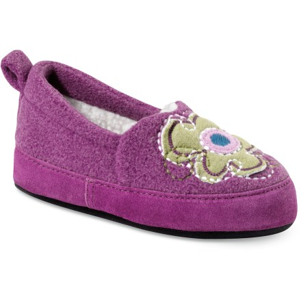 Entertainment Acorn Flower Power Moc kids' slippers bring a bit of floral fun and style to the classic slipper. Polyester fleece uppers feature flowery embroidery and applique for a bit of fun, fuzzy style; suede leather sidewalls enhance durability and scuff resistance. Warm faux fleece linings insulate and wick moisture away from feet to enhance comfort. Lofty memory foam insoles are layered over EVA midsoles to create plush cushioning, warmth and support. Fabric-wrapped thermoplastic rubber outsoles on the Acorn Flower Power Moc kids' slippers offer lightweight traction. - $18.93