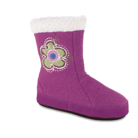 Entertainment These warm Acorn Flower Power Boot kids' slippers offer fleecy comfort and a fun flower theme for little feet. Tall polyester fleece uppers feature flowery embroidery and applique for a bit of fun, fuzzy style; suede leather sidewalls enhance durability and scuff resistance. Warm faux fleece linings insulate and wick moisture away from feet to enhance comfort. Lofty memory foam insoles are layered over EVA midsoles to create plush cushioning, warmth and support. Fabric-wrapped thermoplastic rubber outsoles on the Acorn Flower Power Boot kids' slippers offer lightweight traction. - $16.83