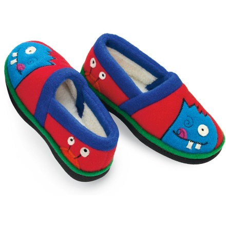 Entertainment These Acorn Monster Moc kids' slippers supply fuzzy, monster-themed warmth and comfort for the chillier months. Polyester fleece uppers feature a fun monster motif for a bit of fun, fuzzy style; suede leather sidewalls enhance durability and scuff resistance. Warm faux fleece linings insulate and wick moisture away from feet to enhance comfort. Lofty memory foam insoles are layered over EVA midsoles to create plush cushioning, warmth and support. Fabric-wrapped rubber outsoles on the Acorn Monster Moc kids' slippers offer lightweight traction. - $20.93