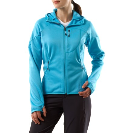 Camp and Hike The adidas Hiking 1side Hoodie 2 jacket keeps you warm logging miles on the trail. Climawarm(R) fleece fabric is warm and breathable. Throw on the hood when you need extra warmth. Jacket features a zippered chest pocket and 2 zippered hand warmer pockets. Thumbhole cuffs keep sleeves in place. Droptail hem for extended coverage. Closeout. - $40.73