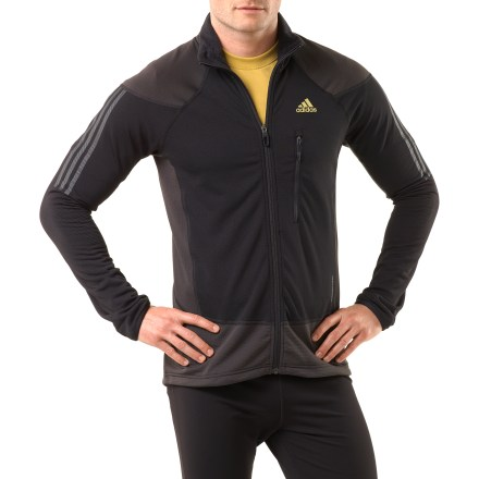 Camp and Hike The adidas Terrex Swift Speed jacket is built for action, whether you're hiking, running or enjoying a brisk morning walk. Polyester/elastane blend fabric moves with you; waffle fleece lining adds warmth and softness. Flatlock seams offer flexibility and comfort. Zippered chest pocket holds small items secure. Drawcord hem keeps the cold out. Closeout. - $25.73