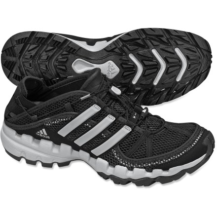 Camp and Hike The adidas Hydroterra Shandal water shoes keep feet protected while tromping through streams and rivers. Mesh uppers with synthetic overlays allow water to drain quickly when emerging from the water. EVA midsoles cushion feet while covering varied terrain. Rubber outsoles provide sure footing on wet rocks and dirt. Closeout. - $47.73