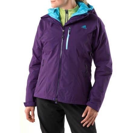 Camp and Hike The adidas Climaproof Storm 3-in-1 Down jacket is a versatile cold-weather jacket perfect for sledding, hiking or taking the dog out in the morning. Climaproof(R) Storm waterproof, breathable coating keeps the rain and snow at bay; durable nylon fabric stands up to outdoor use. Attached hood features volume adjustments. Full-length stormflap secures with snaps and blocks the wind. Zippered chest pocket holds small items secure; zippered handwarmer pockets offer a warm refuge to cold fingers. Rip-and-stick cuffs keep the cold out. Liner down jacket features 600-fill-power goose down and feathers for warmth and comfort; durable nylon construction stands up to wear and tear. Hood keeps the cold out. Zippered handwarmer pockets round out features. Closeout. - $148.83