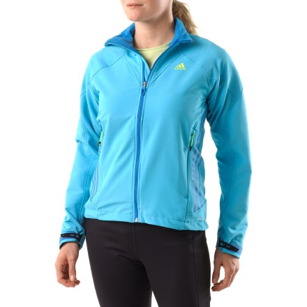 Camp and Hike The adidas Terrex Swift Soft-Shell 2 jacket is a great choice for women on the go. Recycled polyester/spandex blend fabric moves with you-great for hiking, biking and casual wear. Raglan sleeves enhance fit, allowing freedom of movement. Zippered handwarmer pockets and rip-and-stick cuffs round out features. Closeout. - $64.73