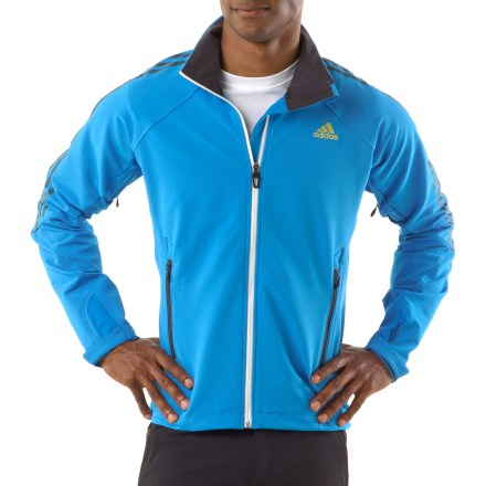 Camp and Hike The adidas Terrex Swift Soft-Shell jacket is ready for any adventure. Recycled polyester/spandex blend fabric moves with you-great for hiking, biking and casual wear. Raglan sleeves enhance fit, allowing freedom of movement. Zippered handwarmer pockets, rip-and-stick cuffs and drawcord hem round out features. Closeout. - $41.73