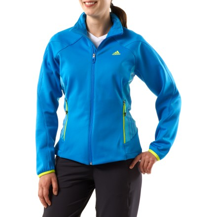 Entertainment The adidas Terrex Swift Fleece jacket goes on easy and keeps you warm while adventuring outdoors. Climawarm(R) fleece fabric traps warm air inside to keep you comfortable in the cold. Flatlock seams maximize motion and minimize abrasion. Zippered handwarmer pockets keep small items secure. Drawcord waist and elastic cuffs secure the fit. Closeout. - $40.73