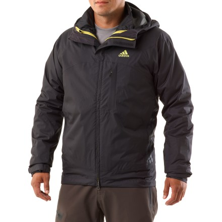 Entertainment The adidas Terrex Swift 3-in-1 Climaproof Storm jacket outfits you for cold weather adventures. Jacket features a waterproof, breathable shell and a synthetic insulated liner jacket. Climaproof(R) Storm waterproof, breathable coating keeps the rain and snow at bay; durable polyester fabric stands up to outdoor use. Raglan sleeves enhance fit, allowing freedom of movement. Hood features volume adjustments for a perfect fit. Shell features a zippered interior pocket, chest pocket and zippered handwarmer pockets. Rip-and-stick cuffs and drawcord waist keep the cold out. Zip-in polyester liner jacket features synthetic insulation for superior warmth. Liner jacket features a full-length front zipper, stand-up collar and hand pockets. Closeout. - $103.73