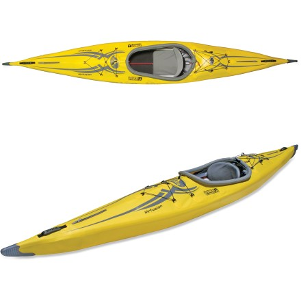 Kayak and Canoe The Advanced Elements AirFusion(TM) kayak performs comparably to a skin-on-frame kayak yet offers a simplified set up. A combination of aluminium alloy frame materials and high-pressure air tubes results in a rigid, high-performance inflatable kayak. Narrow beam creates a responsive ride that's similar to hard-shell kayaks; the AirFusion excels on quiet waters such as lakes, gentle rivers and bays. Triple-layer polyester material with double PVC coating offers superb puncture resistance; welded seams ensure long life. Folding seat offers superior comfort on long paddling trips; adjustable, inflatable thwart under bow increases or decreases leg room. Zippered access on bow and stern aids in setup and offers access to items stored below the deck. Molded, low-profile rubber handles ease transport to the water; inflatable cockpit coaming offers easy attachment of optional sprayskirt (sold separately). Easy-to-use Boston and Twistlok(TM) valves are compatible with most pumps and speed setup time. Bungee deck lacing allows easy access to gear, and beverage pockets behind the seat offer thirst-quenching storage. Includes duffel bag, repair kit and owner's manual. Do not under inflate your boat! Advanced Elements recommends inflate with a 12V electric pump, and then top off with a quality hand pump to get up to the recommended pressure. - $495.93