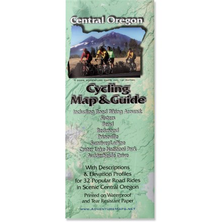 Fitness Accurate and easy to read, this detailed map covers the best mountain biking trails of scenic Central Oregon. Map highlights 32 rides of varying difficulty; map's makers researched and rode each ride. Durable map is printed on waterproof, tear-resistant paper that resists wear at the folds. Features lat./long. and UTM coordinates, selected GPS waypoints, shaded relief and elevation contours. Includes seasonal weather data, sunrise/sunset time charts and regional wildlife, safety, stewardship and contact information. Folded map measures 9.75 x 4 in. and unfolds to 39 x 27 in.; scale of 1:31,680 and 1:63,360. Adventure Maps, Inc.; copyright 2009. - $10.98