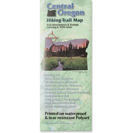 Camp and Hike The Central Oregon Hiking trail map offers an accurate and easy to read reference for all the best that central Oregon has to offer. Researched and explored by the map makers, each trail is described in detail so you can plan a perfect day of outdoor adventure. Durable map paper is waterproof and won't wear out at the folds. Features latitude/longitude and UTM coordinate gridlines as well as selected latitude/longitude waypoints. Includes seasonal weather data and sunrise/sunset times charts; NAD 83 map datum, scale 1:44,000. Shaded relief shows elevation contours in an easy-to-read fashion; ranger district contact information helps you check local conditions. Copyright 2012, Adventure Maps, Inc. - $5.93