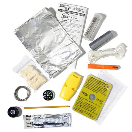 Camp and Hike Prepare yourself for the time your trip doesn't go as planned-this Adventure Medical Kits Pocket Survival Pak(TM) is a must for backcountry travelers. Small, waterproof and re-sealable, this kit contains 27 items that may assist in your rescue and add comfort while you wait. Contains: Rescue Flash(TM) signal mirror, Spark-Lite(TM) Tinder-Quick(TM) waterproof fire starter, Fox 40(R) Howler(TM) whistle. Also includes a compass, 50 ft. of heavy-duty thread, sewing needle, 4 safety pins, 2 in. x 26 in. duct tape. Plus 10 ft. braided twine, 6 ft. stainless-steel wire, heavy-duty aluminum foil, pencil, waterproof note paper. Also a sharp scalpel blade, 4 fish hooks, 1 snap swivel (size 12) and 2 split shot lead weights. Adventure Medical Kits Pocket Survival Pak includes a contents list, detailed instructions and Fresnel magnifier for reading detailed instructions. - $22.93
