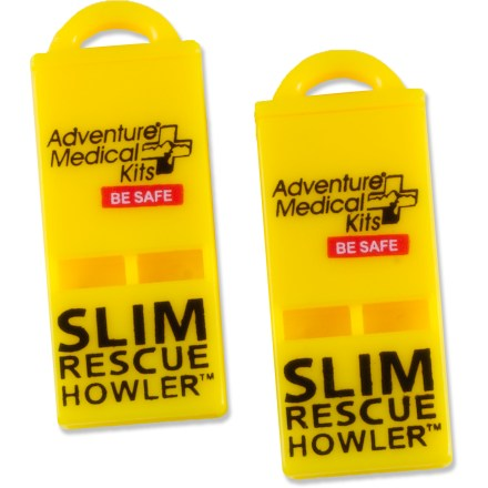 Camp and Hike The SOL Slim Rescue Howler whistle weighs a fraction of an ounce yet packs a big punch. Whistle emits 100 decibels and can be heard from over a mile away. Pea-less design works in all conditions and will never jam or freeze. Package of 2 SOL Slim Rescue Howler whistles. - $5.95