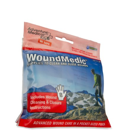 Camp and Hike Be prepared to treat an injury on the trail with the Adventure Medical Kits Wound Medic kit. Wound Medic kit has what you need to clean and close wounds while you're hiking. Kit includes an irrigation syringe, wound closure strips, povidone iodine for water purification, antiseptic towelettes and triple antibiotic ointment. Adventure Medical Kits Wound Medic kit weighs only 3 oz. and comes in a 5 x 4.25 x 1 in. package for easy transportation. - $10.00