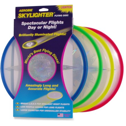 Camp and Hike The Aerobie Skylighter lighted disc blazes through the night sky with brilliant LED illumination that lights up the entire disc. - $15.00