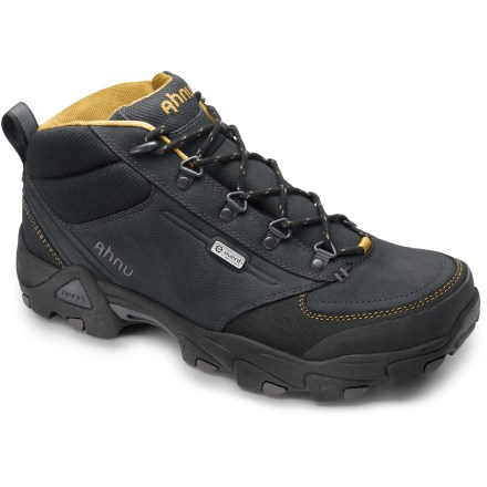 Camp and Hike The light and sleek Ahnu Elkridge Mid eVent(TM) hiking boots provide breathable, waterproof protection in a mid-height cut for stability and comfort on day hikes and weekend jaunts. Uppers feature a mix of tough, full-grain leather and protective synthetic leather for lasting performance and support. Highly breathable eVent waterproof membranes keep the elements out while setting a high standard for comfort by allowing perspiration to dissipate and vent quickly. Nylon linings wick moisture away from feet. Dual-density EVA midsoles provide shock absorption and cushioning comfort underfoot; EVA plugs work with external struts to stabilize heels for enhanced performance. Thermoplastic urethane arch shanks and forefoot plates supply support and torsional rigidity, and help prevent stone bruising. Nonmarking rubber outsoles on the Ahnu Elkridge Mid eVent hiking boots feature multidirectional lugs for great traction on various terrain. - $79.83