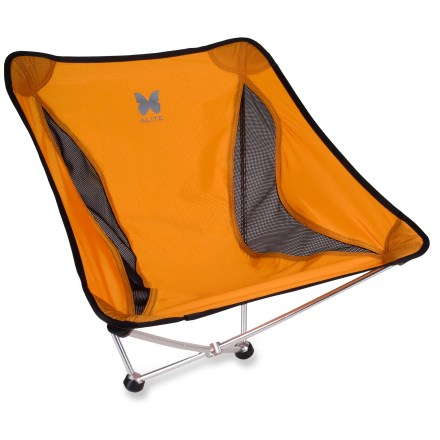 Camp and Hike Kick back and relax at the campground or summer concert with the portable Alite Monarch Butterfly chair. At only 18 oz., the Monarch Butterfly chair is light enough to take along on backpacking trips; chair stows in the included 4.5 x 13 in. stuff sack. Chair sets up quickly and easily using an aluminum hub and pole system similar to the design found in many lightweight tents. Balancing on the 2 rubber feet allows you to rock forward and back. Lightweight nylon fabric features breathable mesh panels on the sides. Chair has a maximum capacity of 250 lbs. - $54.93