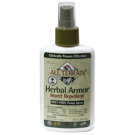 Camp and Hike All-natural Herbal Armor(TM) Insect Repellent spray is perfect for hard-core enthusiasts who demand effectiveness, but don't want DEET. - $9.00