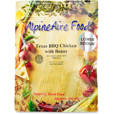 Camp and Hike AlpineAire Texas BBQ Chicken with Beans freeze-dried meal includes hickory-smoked barbecue sauce mixed with white chicken meat and rice. To prepare, add 2 cups of boiling water to the pouch, stir well and close pouch; let stand for 10 - 12 min. and enjoy. Makes two 1 cup servings. Nutrition facts displayed here and on packaging may differ; information on packaging reflects actual contents. *Discount will be applied when you check out; offer not valid for sale-price items ending in $._3 or $._9. - $5.93