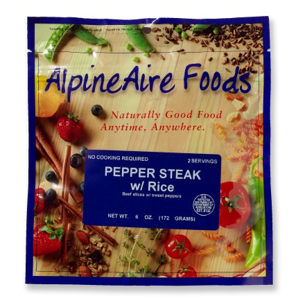 Camp and Hike Tender beef slices with rice and sweet peppers make this a great main course for your instant gourmet trail meal! Easy to prepare in its own foil pouch; just add boiling water and stir, let stand for a few minutes, and then serve. Nutrition facts displayed here and on packaging may differ; information on packaging reflects actual contents. *Discount will be applied when you check out; offer not valid for sale-price items ending in $._3 or $._9. - $5.93