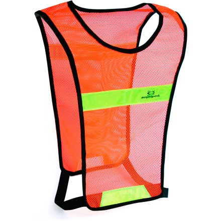 Fitness Be seen during nighttime runs and bike rides with the Amphipod Full-Viz Glow(TM) vest. Caution-orange color and front and rear fluorescent reflective zones at top and bottom enhance your visibility during nighttime activities. Open-mesh fabric is soft and breathable; chafe-free edging promotes comfort. Dual rip-and-stick closures allow you to adjust the fit. Includes an internal ID tag. - $14.93