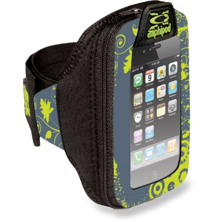 Fitness Going for a run or walk? Choose the Amphipod ArmPod SmartView(TM) armband to hold your iPhone(R), iPod touch(R), Motorola Droid(TM) or similarly sized smartphone or digital music player. Slip your smartphone into the easy-access main pocket via the secure zipper; fits phones and digital music players up to 5.5 x 3.25 in. Protective clear View-Thru(TM) front panel allows full screen access and touch control of your device. Large separated internal compartment holds extras. Remove the case from the armband and you can attach it to any 1.5 - 2 in. waistbelt. The Amphipod ArmPod SmartView armband adjusts to fit arms 8 - 15 in. in circumference. - $35.00