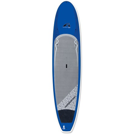 Wake Stable, fun and perfect for the whole family, the 11 ft. 6 in. Amundson Source stand up paddleboard is ready for great times on the water. Suited to any paddler up to 230 lbs, the 11 ft. 6 in. Amundson Source paddleboard is a great choice for friends and family to share on flatwater and light surf. Epoxy and fiberglass layered over an EPS foam core creates lightweight flotation with high durability. 32 in. width offers enough stability for beginners; slight rocker and smooth outline enhance tracking. You'll have an easy time staying on the board thanks to the high traction of the deck pad. 10 in. center fin enhances tracking. Grip and carry the 30 lb. board in the center with the heavy-duty, molded handle. Includes tie-down points on forward deck for PFDs or gear. - $1,449.95